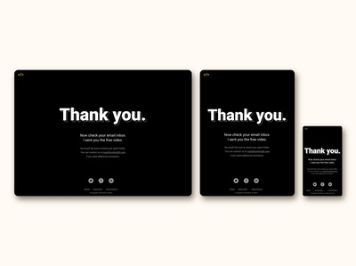 thank you page for FrontEnd30 website / UI design