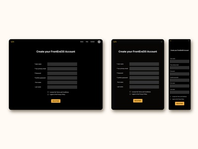 Create an account page for FrontEnd30 website / UI design dark theme web design account page create account page ui design ui