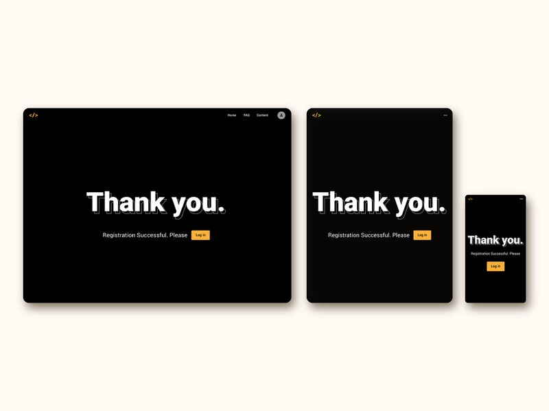 thank you with login button for FrontEnd30 website / UI design thank you ui design ui web design branding