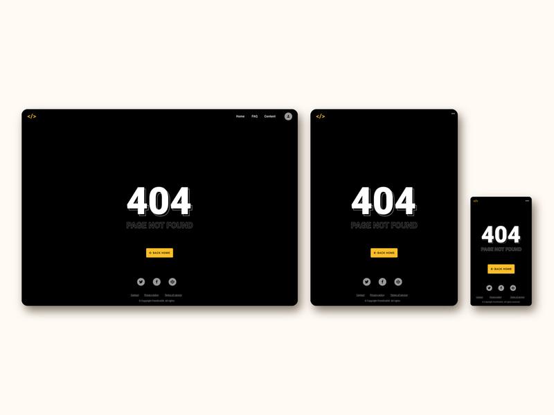 404 page for FrontEnd30 website / UI design 404 404 page dark theme intro page web design web ui design