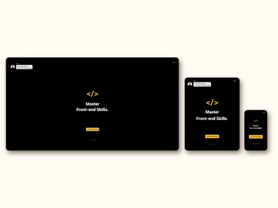Intro page for FrontEnd30 website / UI design dark theme intro page web design web ui design