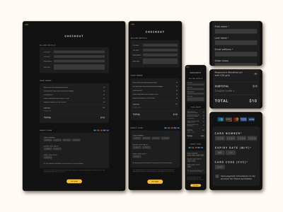 Checkout page for FrontEnd30 website / UI design form field dark theme website ui credit card checkout page
