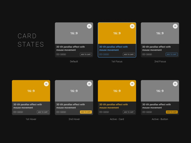 Card UI focused on different state style with accessibility dark mode dark theme ui component active focus card state accessibility state card ui card ui