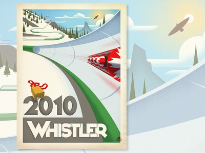 Whistler, Olympic Bobsled whistler vintage vector poster travel texture snowboard ski retro olympics mountain british columbia canada