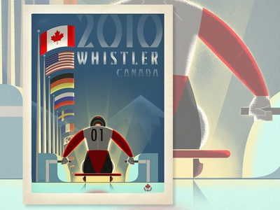 Whistler, Olympic Luge british columbia whistler vintage vector travel texture ski retro poster olympics mountain canada