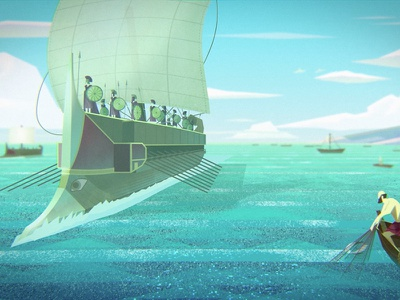 'Greek Technology' - Digital Painting from Documentary ancient history history vector water ocean sea sailing ships boats mediterranean film art documentary animation digital painting concept art fishing navy greek ancient greece trireme