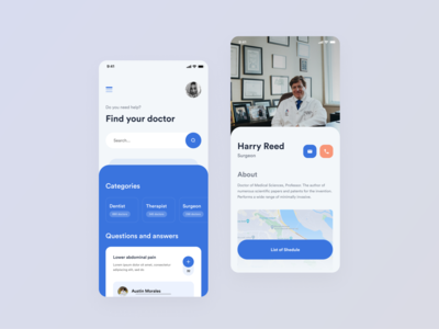 Online clinic app medical care online clinic android ios doctor medical app ux app clean design ui