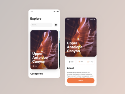 Travel app concept user interface usa travel app travel typography vector ux app clean design ui