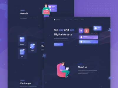Exchange Landing page character icon ux ico illustration clean design exchange crypto ui