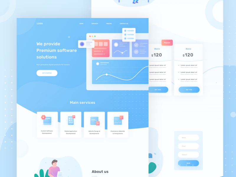 Development services landing page webdesig dashboard character vector icon illustration clean ux design ui