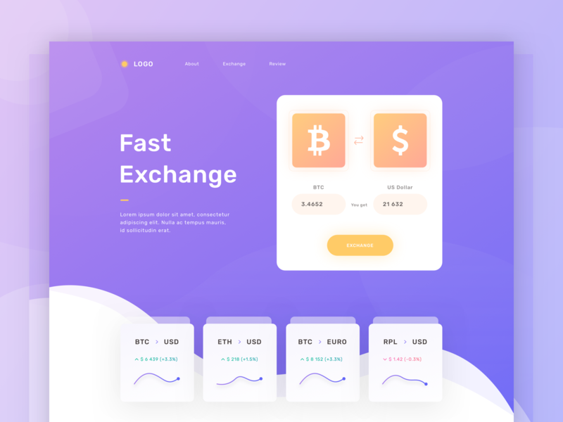 Landing page with gradients character app exchange dashboard vector illustration icon ico crypto clean ux design ui