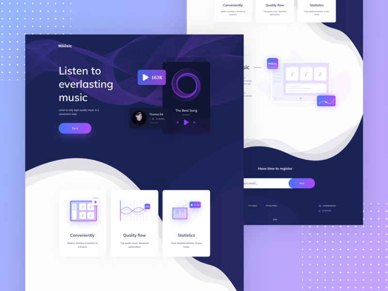 Music service Landing page web dribbble character app vector ux icon illustration clean design ui