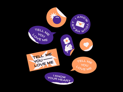 stickers - tell me letter heart flower mark sticker graphic love graphic design