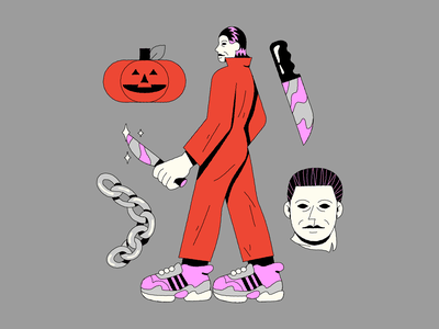 Michael Myers character design knife pumpkin horro movie illustration halloween