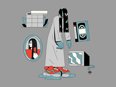 Sadako Yamamura characterdesign illustration horror movie vhs ring sadako halloween