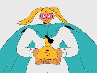 Savings Hero savings bank finances money characterdesign illustration