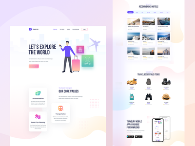 TRAVELRY - Travel Booking Landing Page design ui ux branding agency website illustration product landingpage booking system traveling bus booking flight booking hotel booking booking vacation holiday travel agency travel