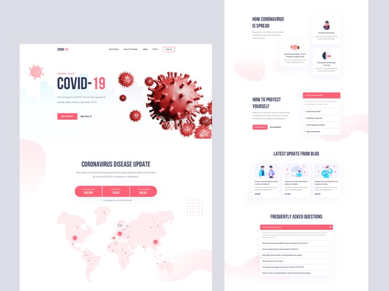 COVID-19 Social Awareness Landing Page ui ux design agency website illustration landingpage product healthcare awerness corona virus corona covid covid19