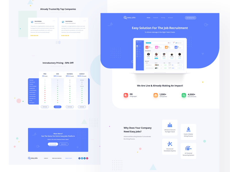 Easy.Jobs | Easiest Talent Recruitment Suite - Landing Page website ui ux icon typography mobile app hiring job platform requerment illustration branding agency website design product landingpage saas landing page