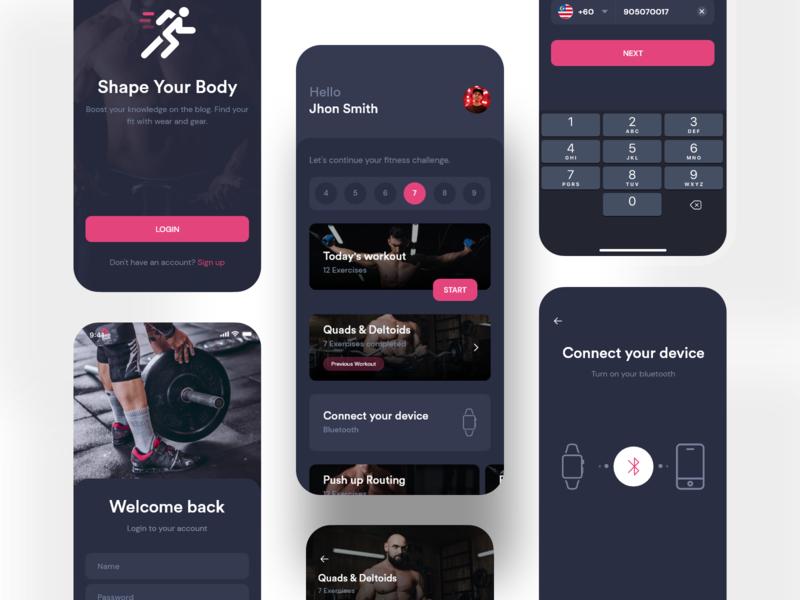 Fitness Workout App UI Kit project article 3d ui kit kit dark app dark ui dark ui ux product os ios mobile app app trainer workout app yoga app gym app fitness app