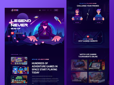 GameZone - Gaming Website Template For Elementor art game ui game design app design ux ui illustration product landingpage dark 3d animation play station video game cartoon gaming app gaming game website game
