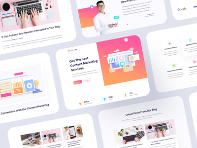 Content Hub - Content Marketing Website Template For Elementor gif animation content management motion icon vector ui ux illustration design product landingpage content creation agency website marketing agency marketing content content marketing