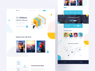 EleBrary - Library Template for Elementor agency website illustration design landingpage product online book shop library website author reading reading book book online book online shop library app library