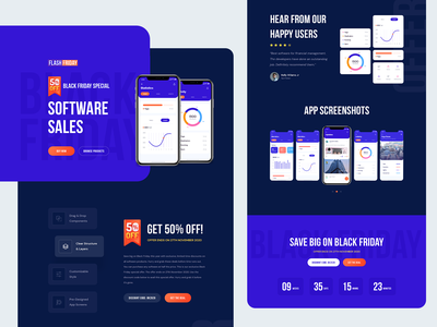 FlashFriday - Black Friday Landing Pages product landing app landing ui ux agency website illustration design product landingpage software deal black friday sale deals christmas cyber monday black friday