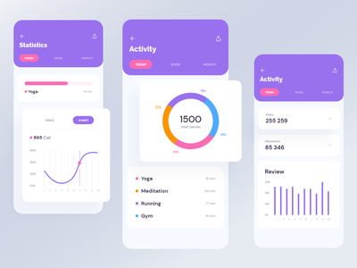 App UI - Activity | Exo UI kit ui illustration design typography animation app ui kit ios analytics statistic progressbar mobile ui app ui product app activity activity feed