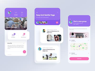 App UI - Timeline   Exo UI kit design product ux ui menu profile card notification message user location map activity profile timeline app ui mobile app mobile ui