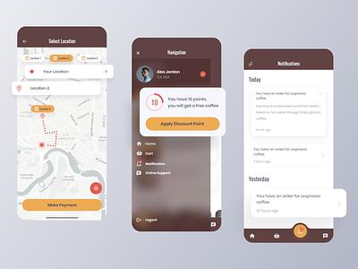 L'espresso – Coffee Mobile App ux ui branding design product message notification activity navigation menu profile navigation map location application mobile app coffee app coffeeshop coffee