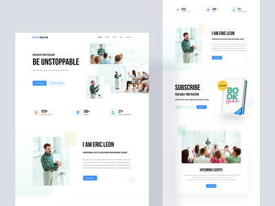 MotivSpeak - Motivational Speaker Website Template design agency website landingpage product personal website business coach life coach instructor consultant teacher mentor psychologist trainer motivational speaker website speaker motivational