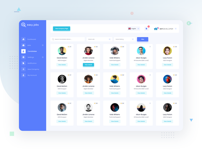 Easy.Jobs | Easiest Talent Recruitment Suite - Candidates web app ui ux hiring job candidate design product web design admin template dashboard saas web application web app