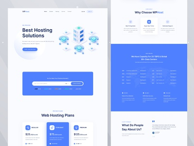 WPHost - Web Hosting Website Template illustration ui ux landingpage design product server hosting provider cloud cloud services hosting solution domain name hosting website domain hosting web hosting