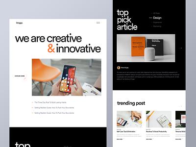 Bloggy - Blog Website blog post creative web typography website branding agency website ui ux landingpage design product article