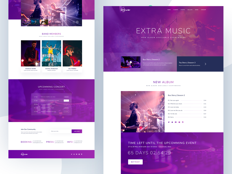 Music Band Website Homepage brand bitcoin design product agency website typography illustration party song artist night club dj party music