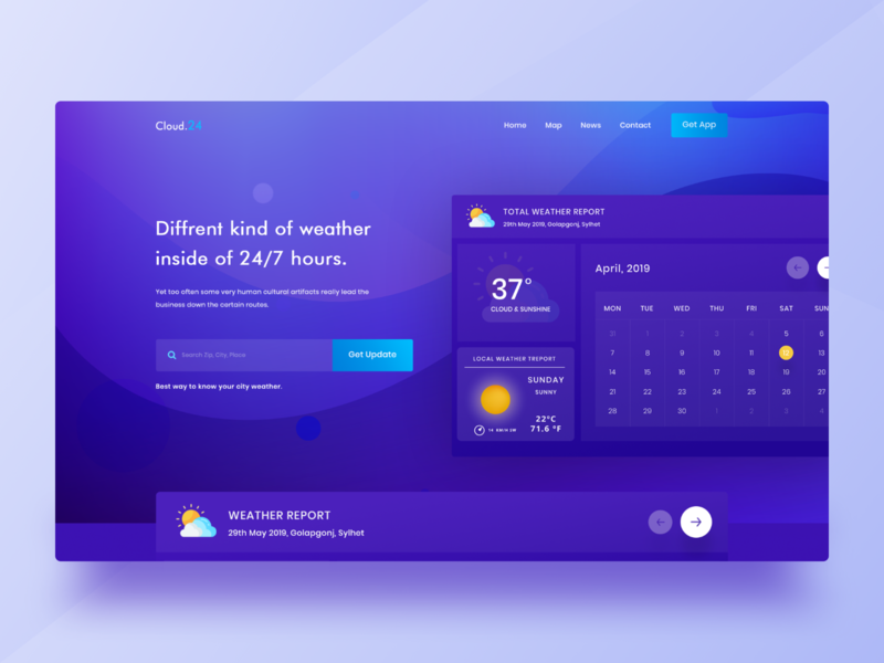 Weather Forecast Landing Page Concept by SabbirMc for Maayo Studio