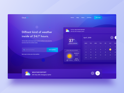 Weather Forecast Landing Page Concept design currency digital marketing agency website crypto typography weather forecast news report weather vector product landingpage illustration
