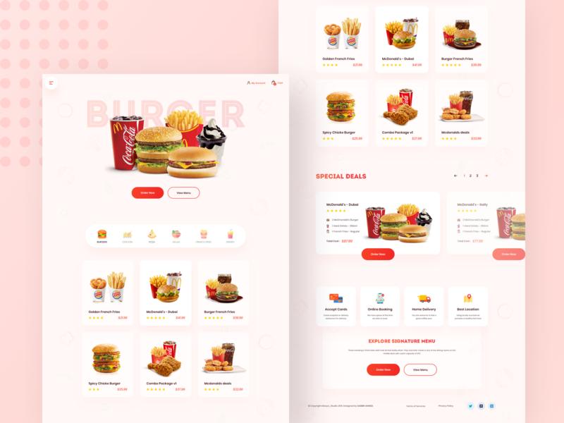 Burger King - Landing Page Concept menu agency website design restaurant booking online order food and beverage landingpage food and drink burger menu burger food product