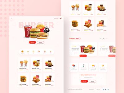 Burger Shop - Landing Page Concept menu agency website design restaurant booking online order food and beverage landingpage food and drink burger menu burger food product