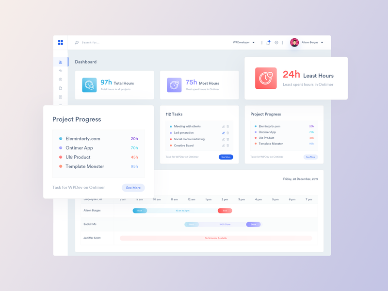 OnTimer: Time Tracking, Scheduling & Monitoring Web App by