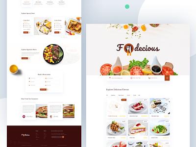 Fodecious - Restaurant Website Template menu beverage online order burger pizza ui product illustration landingpage order reservations food restaurant