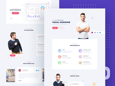 Personal Portfolio, CV & Resume Template payment agency website illustration branding design vector ui product portfolio website resume template landingpage vacrd personal portfolio portfolio resume cv