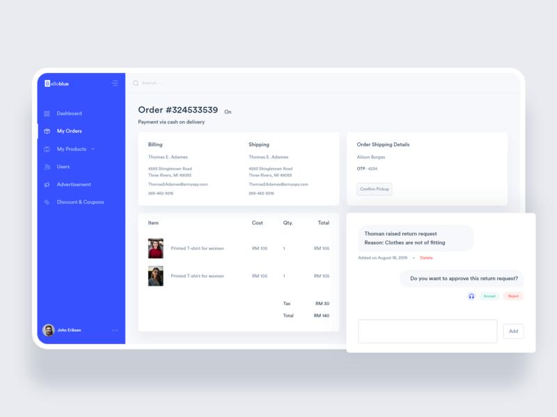 BelloBlue: Fashion + Delivery Web App icon design ux ui branding product admin dashboard admin template web app dashboard design delivery app fashion ecommerce dashboard ui dashboard