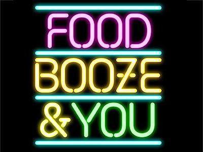 Food Booze & You neon