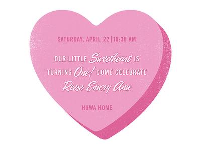 Reese Emery Ann heart texture type invite birthday