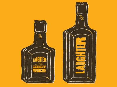 Laughter is the best medicine  laughter medicine illustration tonic bottle vintage