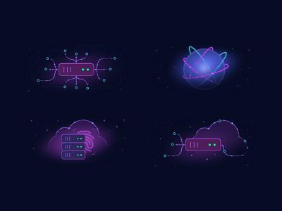 Device lab icons ⚛️ network globe illustration server cloud icon