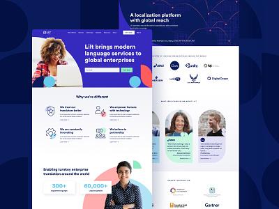 Lilt - About Us Page web about us lilt language translation website landingpage shapes icons technology