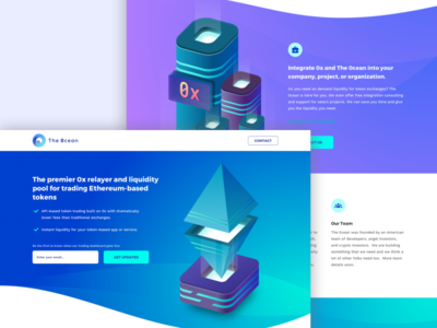 Landing Page The0cean ethereum tokens financial trading isometric illustration page landing website